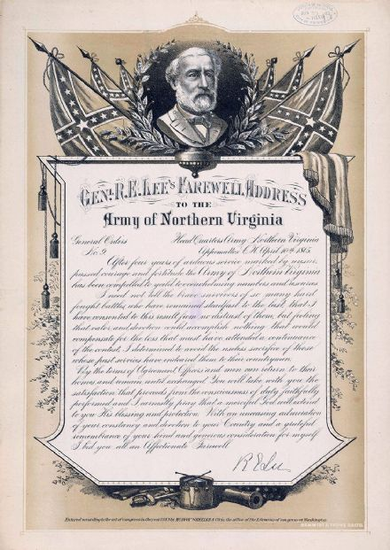 Farewell Address by General Robert E. Lee to the Army of Northern Virginia. Print/Poster (4901)